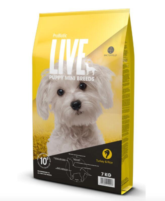 7 kg. Probiotic LIVE Puppy MINI (hvalp) med Kalkun