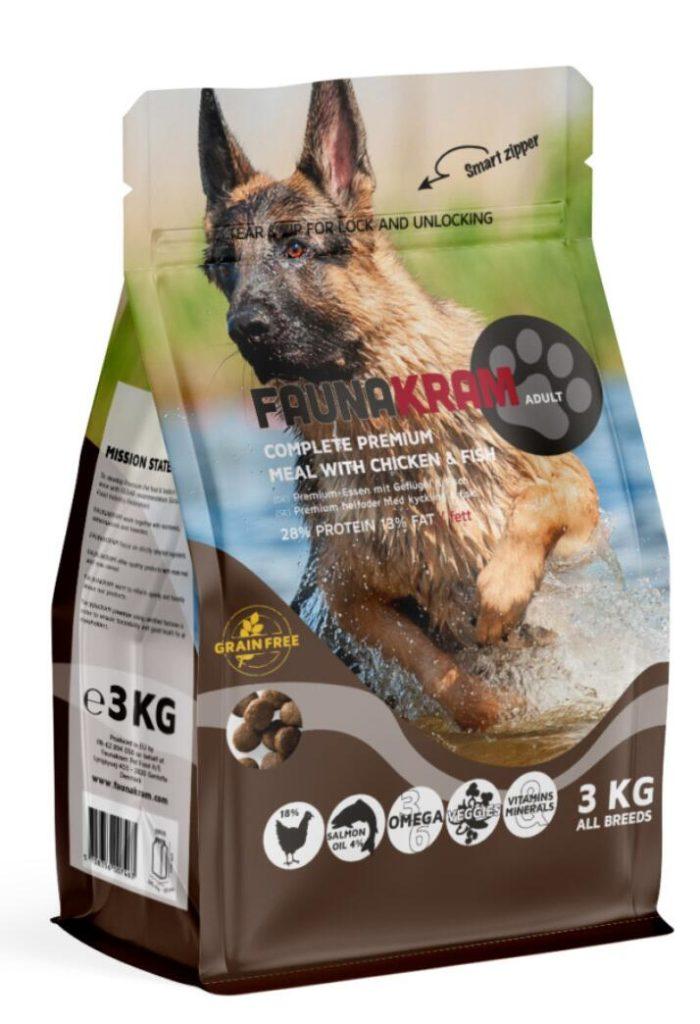 3 kg FAUNAKRAM Kornfri med kylling og laks